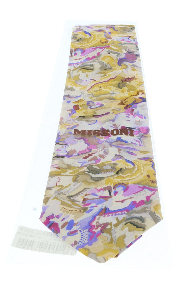 Missoni U1977  Gold/Pink Floral 100% Silk Tie at