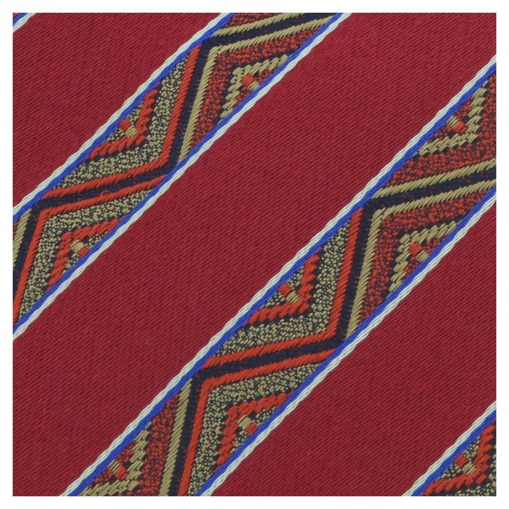 Missoni U5128 Red/Gold Awning 100% Silk Tie at