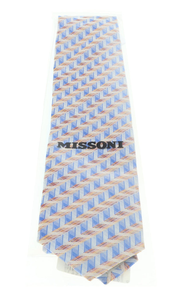 Missoni U4706 Blue/Orange Chevron 100% Silk Tie at