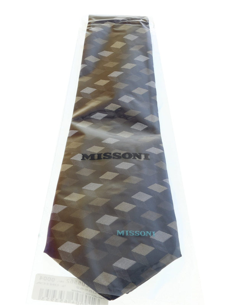 Missoni U5562 Silver/Gold Abstract 100% Silk Tie at