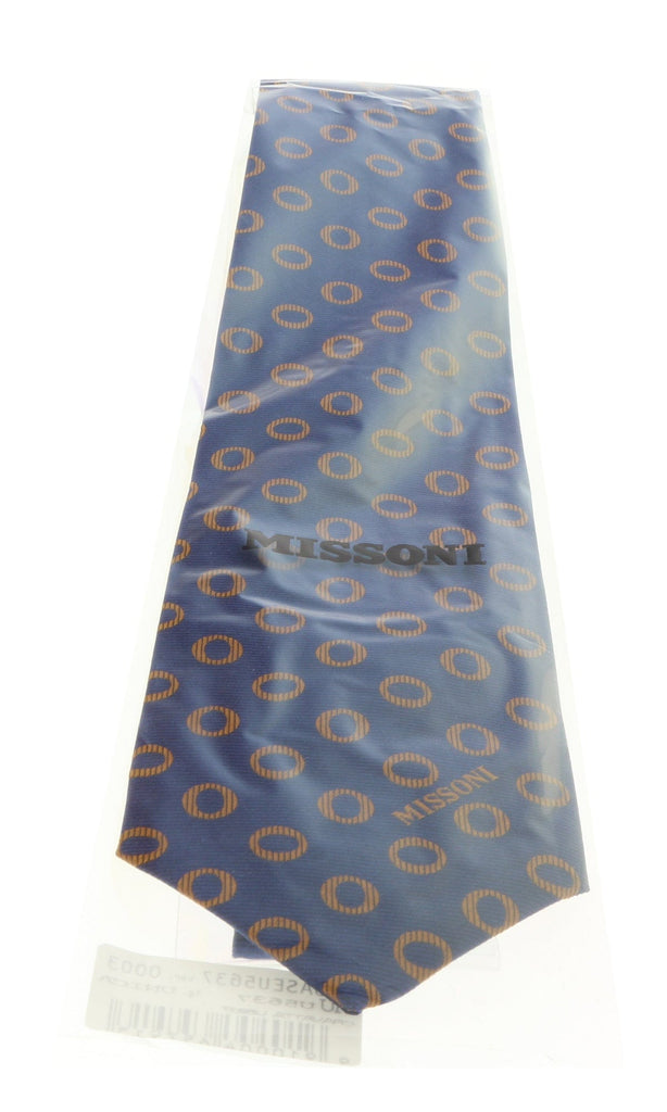 Missoni U5637 Navy/Gold Geometric 100% Silk Tie at