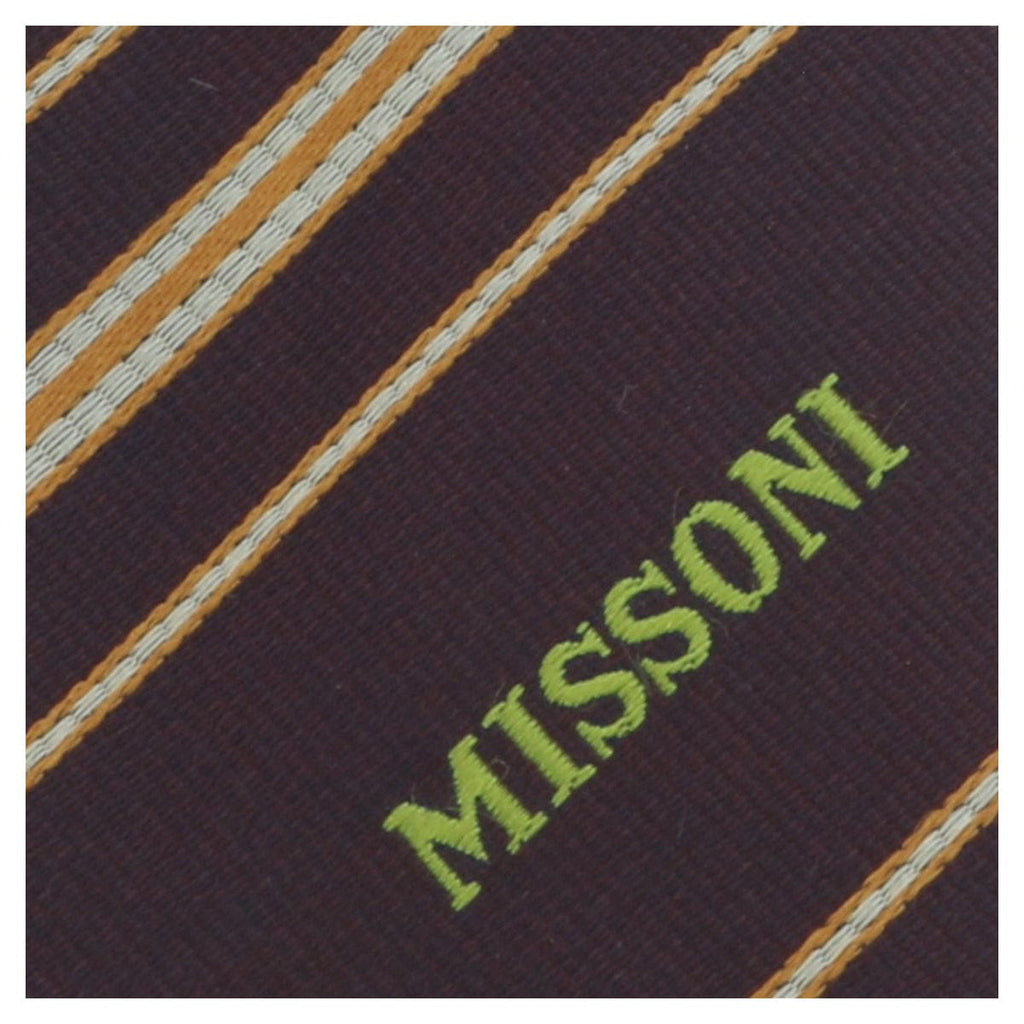 Missoni U5026 Maroon/Gold Repp 100% Silk Tie at