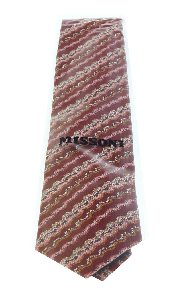 Missoni U5302 Red/Orange Sharkskin 100% Silk Tie at