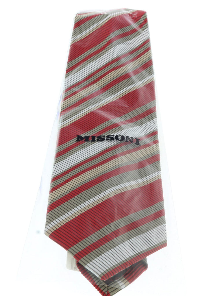 Missoni U4233 Red/Khaki Regimental 100% Silk Tie at
