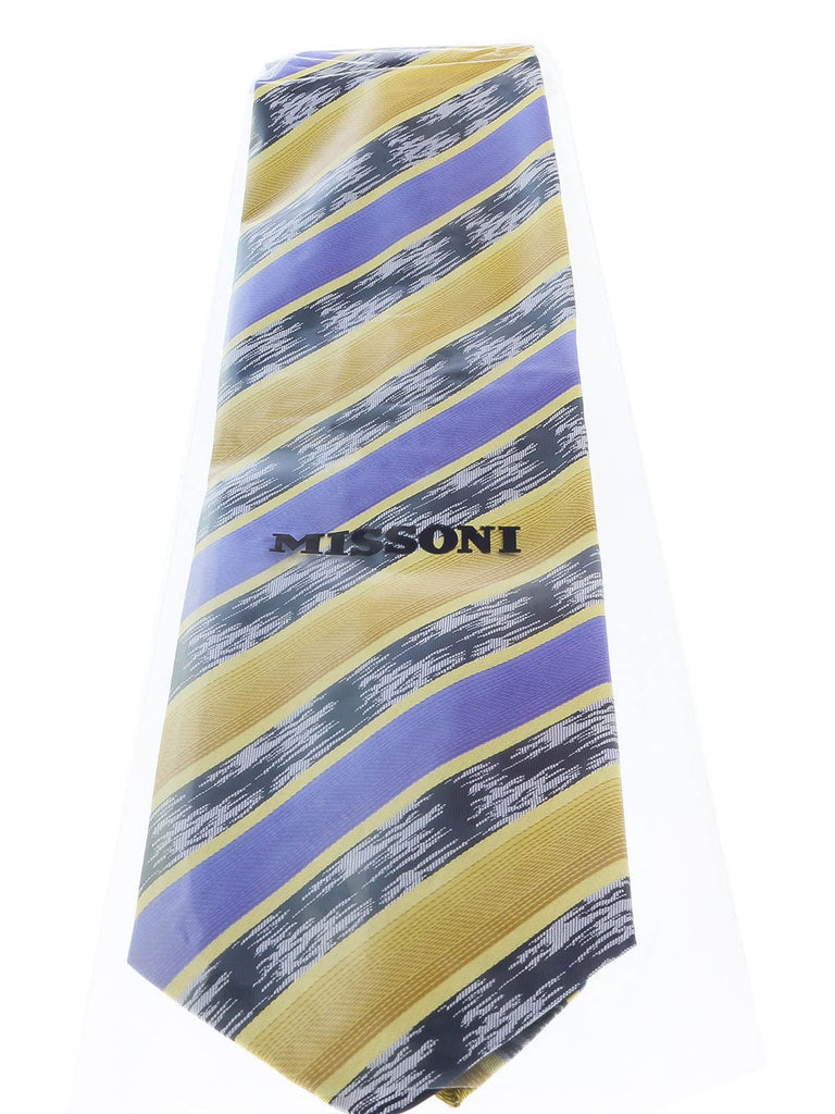 Missoni U3821 Gold/Purple/Navy Blue Regimental 100% Silk Ties at