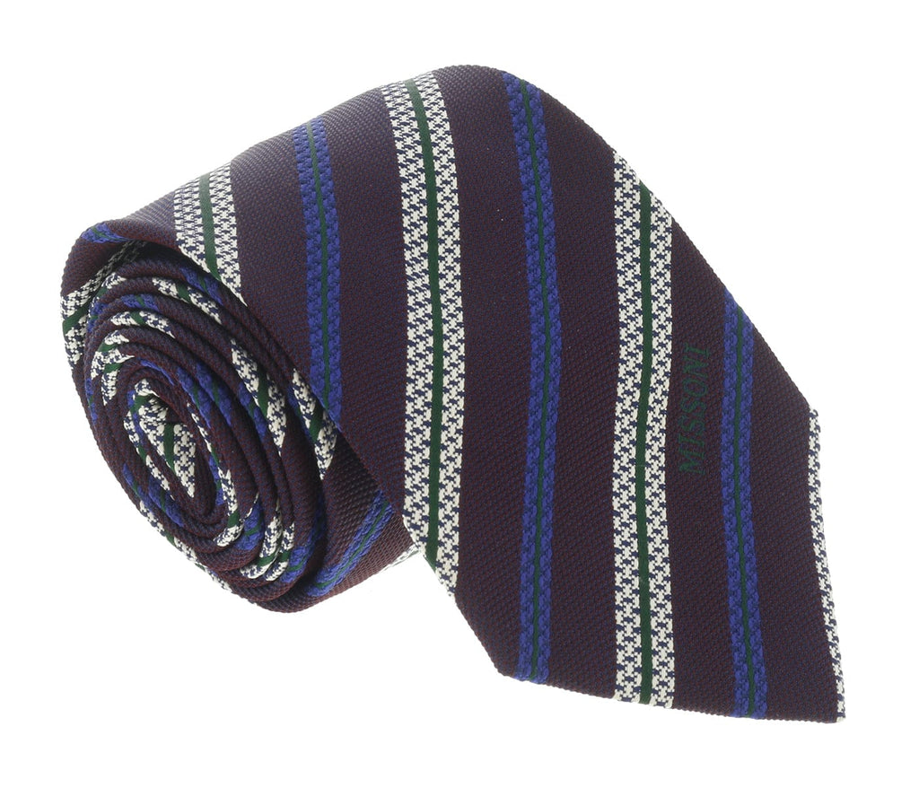 Missoni U5691 Regimental Plum/Electric Blue 100% Silk Tie