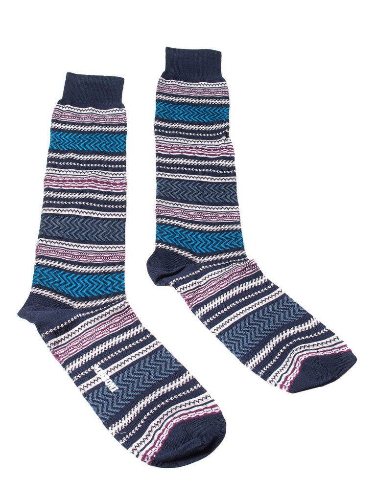 Missoni  Purple/Turquoise Striped Knee Length Socks