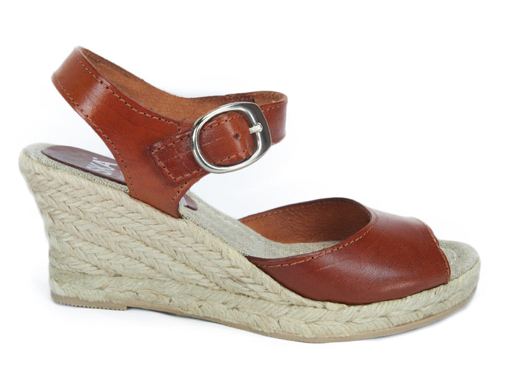 SKA BETTY V5N Tan Espadrille Strappy Wedge Sandals