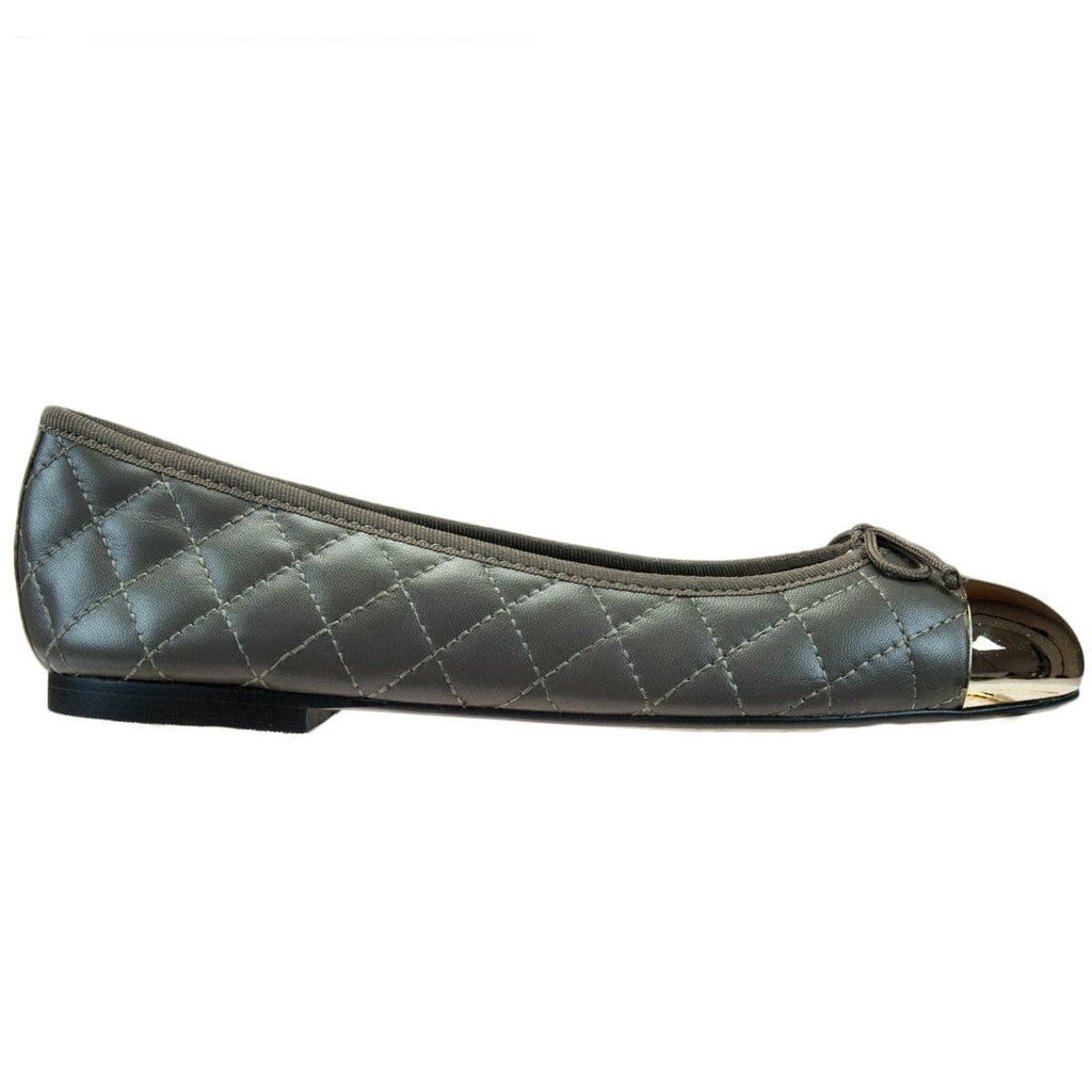 Bailarinas  Taupe Quilted Ballerina Flats