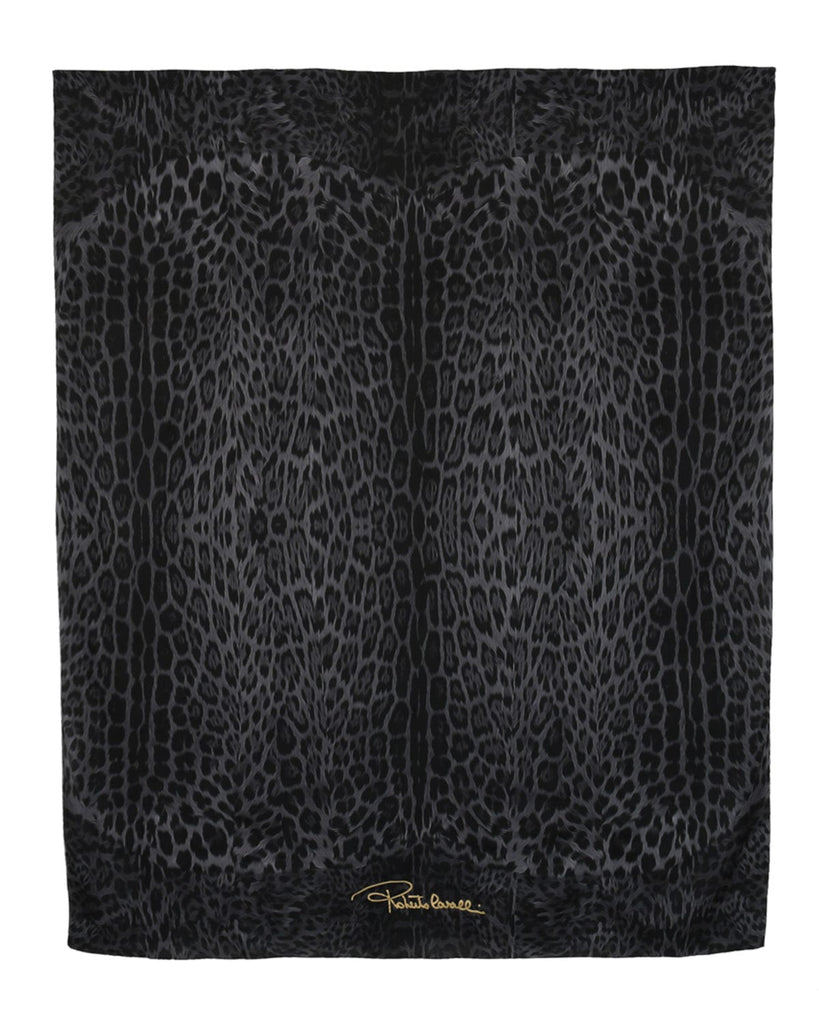 Roberto Cavalli C3S07D120 230 Gray Animal Print Shawl at