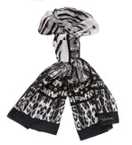 Roberto Cavalli C3802C930 230 Black Animal Print Scarf at