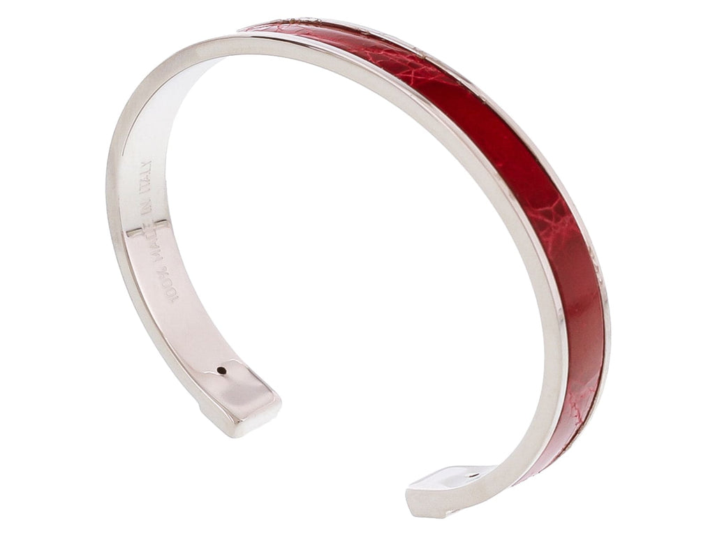 Stamerra PICCOLO CROCCO ARO Red/Silver Genuine Crocodile Bracelet
