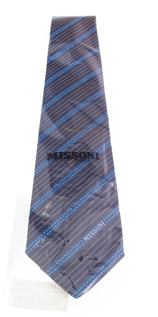 Missoni Multi Stripe Blue Woven 100% Silk Tie at
