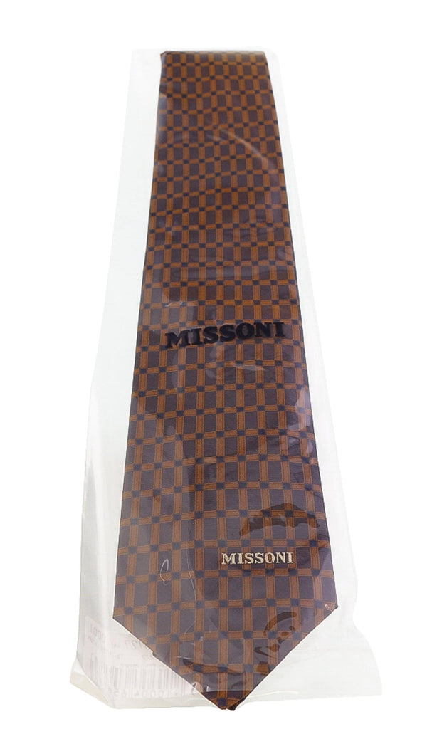 Missoni Grid  Brown Woven 100% Silk Tie at