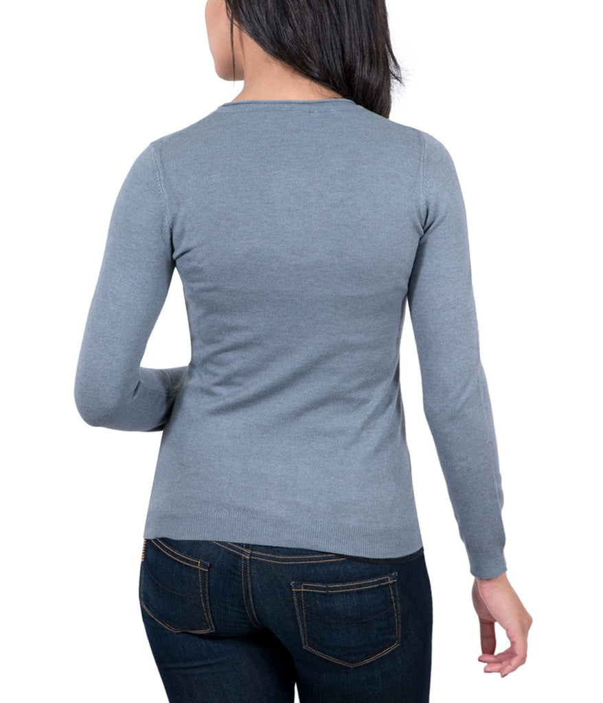 Real Cashmere Grey Crewneck Cashmere Blend WomensSweater
