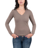 Real Cashmere Brown V-Neck Cashmere Blend WomensSweater-XS