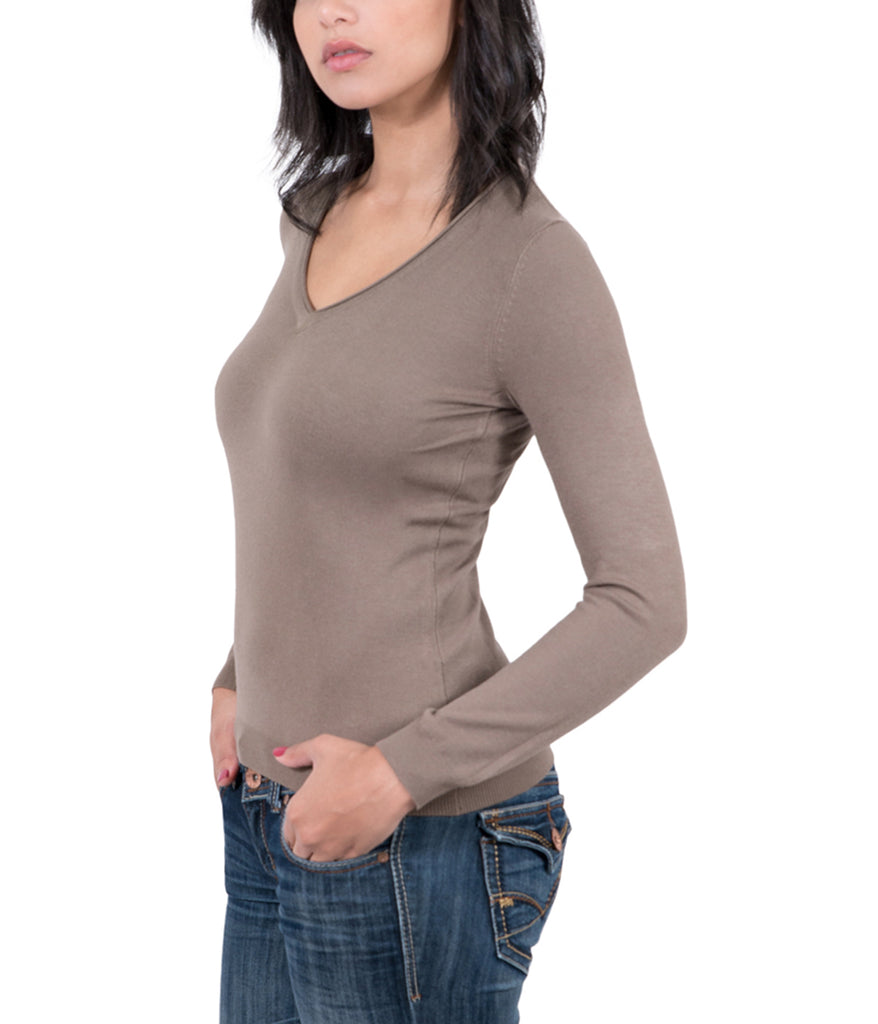 Real Cashmere Brown V-Neck Cashmere Blend WomensSweater