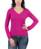 Real Cashmere Fuschia V-Neck Cashmere Blend WomensSweater