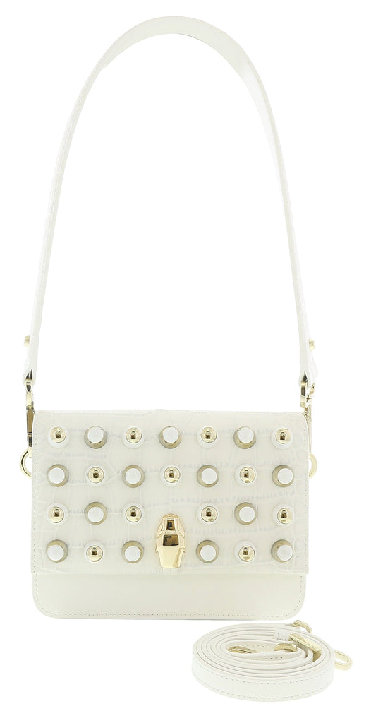 Roberto Cavalli GQLPAS 10 White Milano Rmx 0 Medium Shoulder Bag at