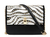 Roberto Cavalli Class GWLPCM 999 Milano Rmx 0 Black/White Medium Shoulder Bag at