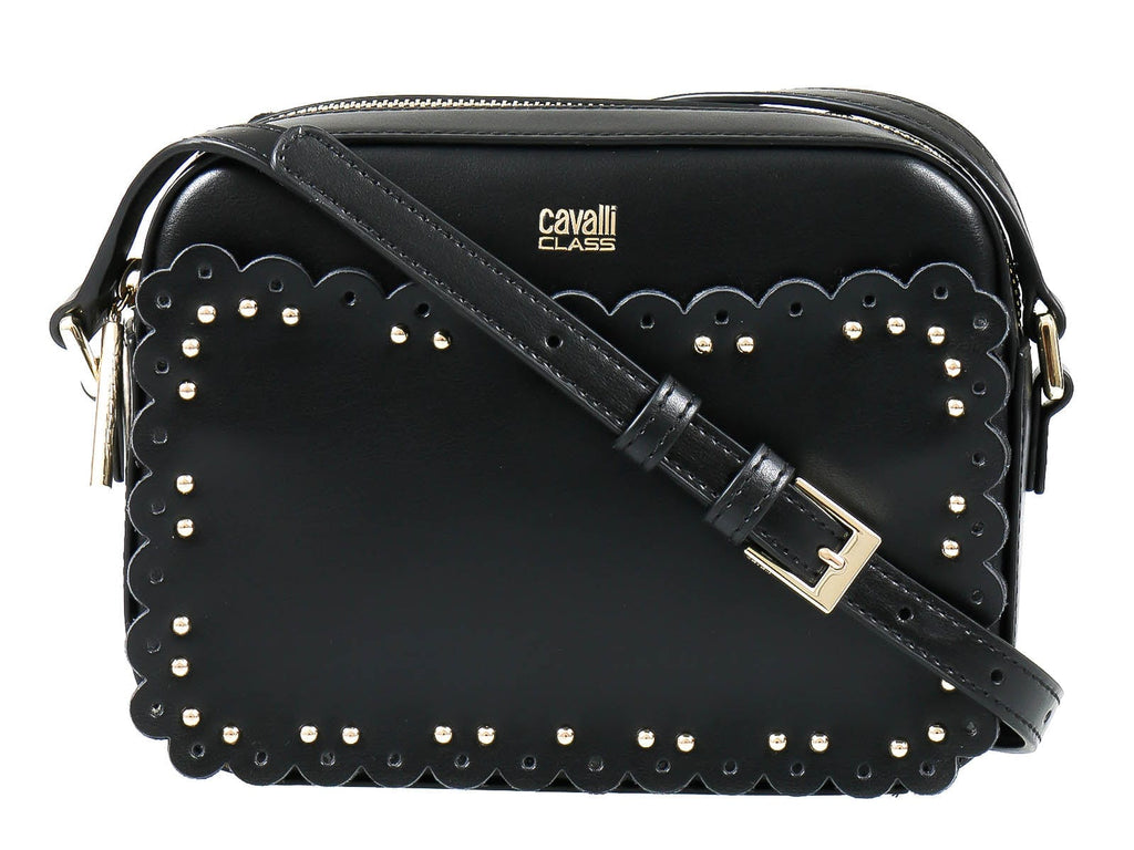 Roberto Cavalli Class GWLPEY 999 Leolace 002 Black Small Shoulder Bag at
