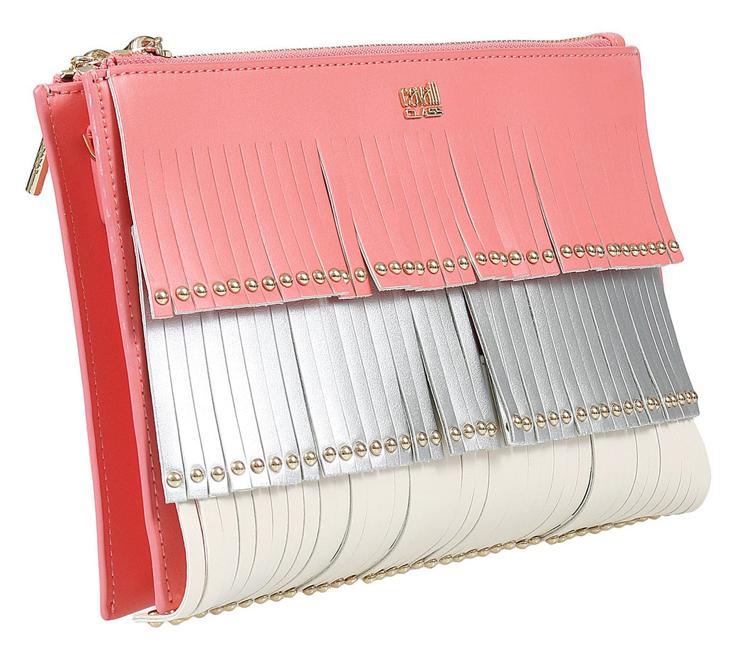 Roberto Cavalli Class GWLPD0 T30 Aloha 001 Peach/Silver Clutch at 261.90