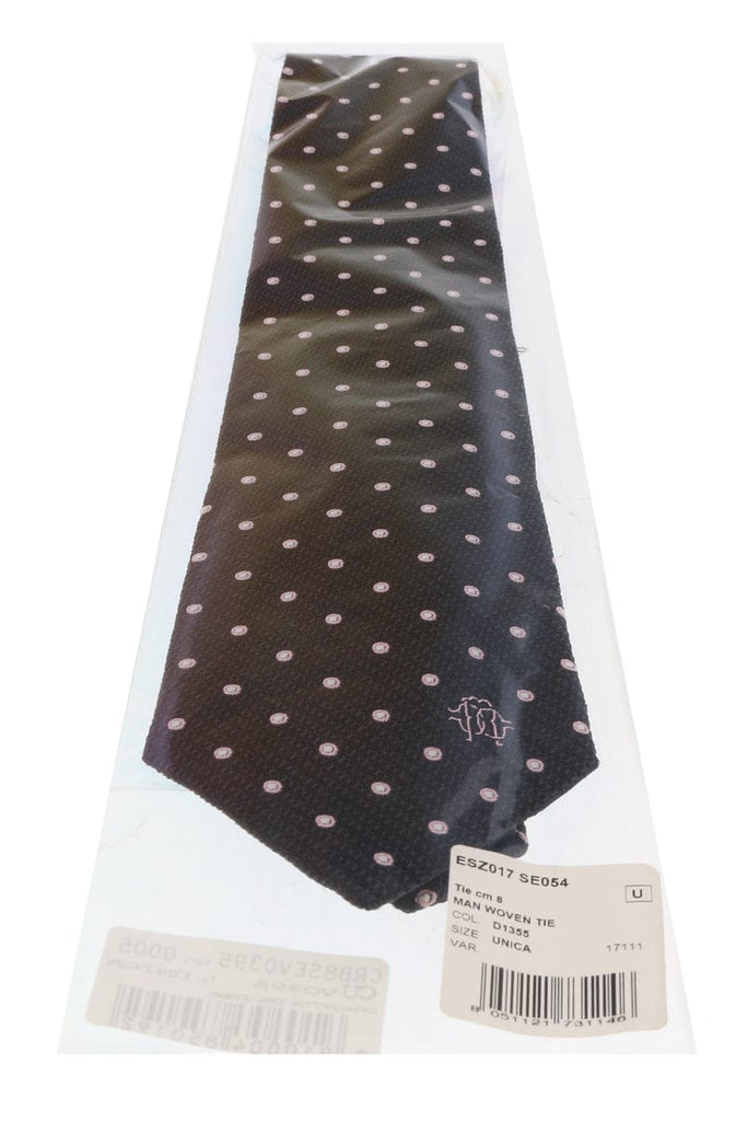 Roberto Cavalli ESZ017 D1355 Dark Grey Geometric Polka Dot Tie at