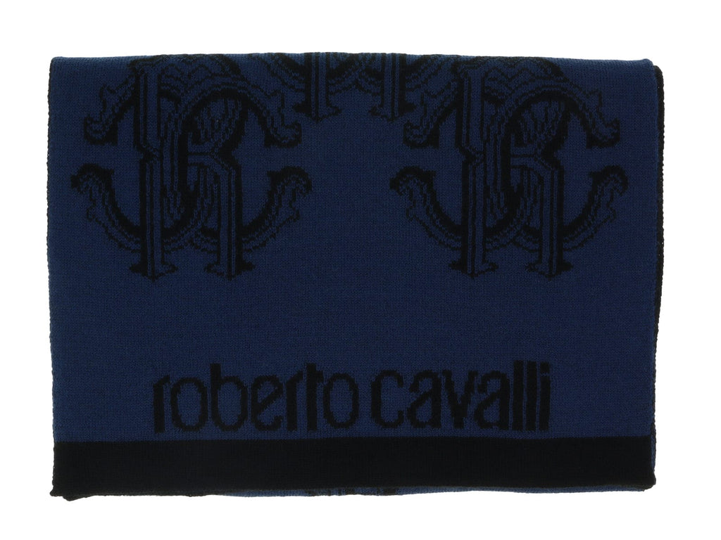 Roberto Cavalli ESZ028 D0174 Blue Marine/ Black Wool Blend Logo Mens Scarf at