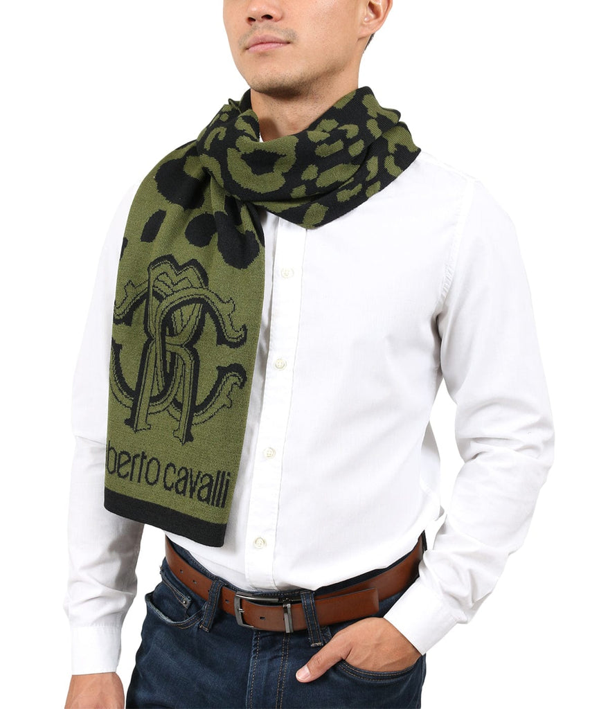 Roberto Cavalli ESZ030 04000 Green Wool Blend Leopard Print Mens Scarf at 38.09