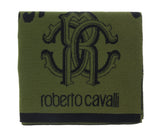 Roberto Cavalli ESZ030 04000 Green Wool Blend Leopard Print Mens Scarf at