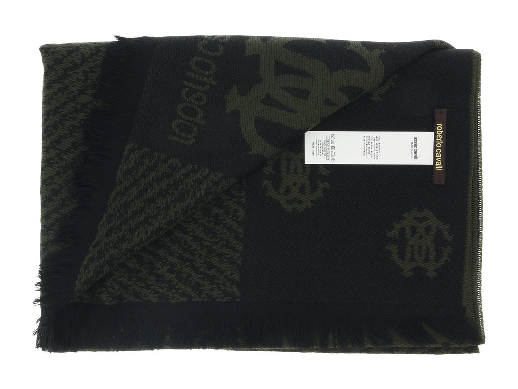 Roberto Cavalli ESZ032 04000 Green Wool Blend Logo Mens Scarf at