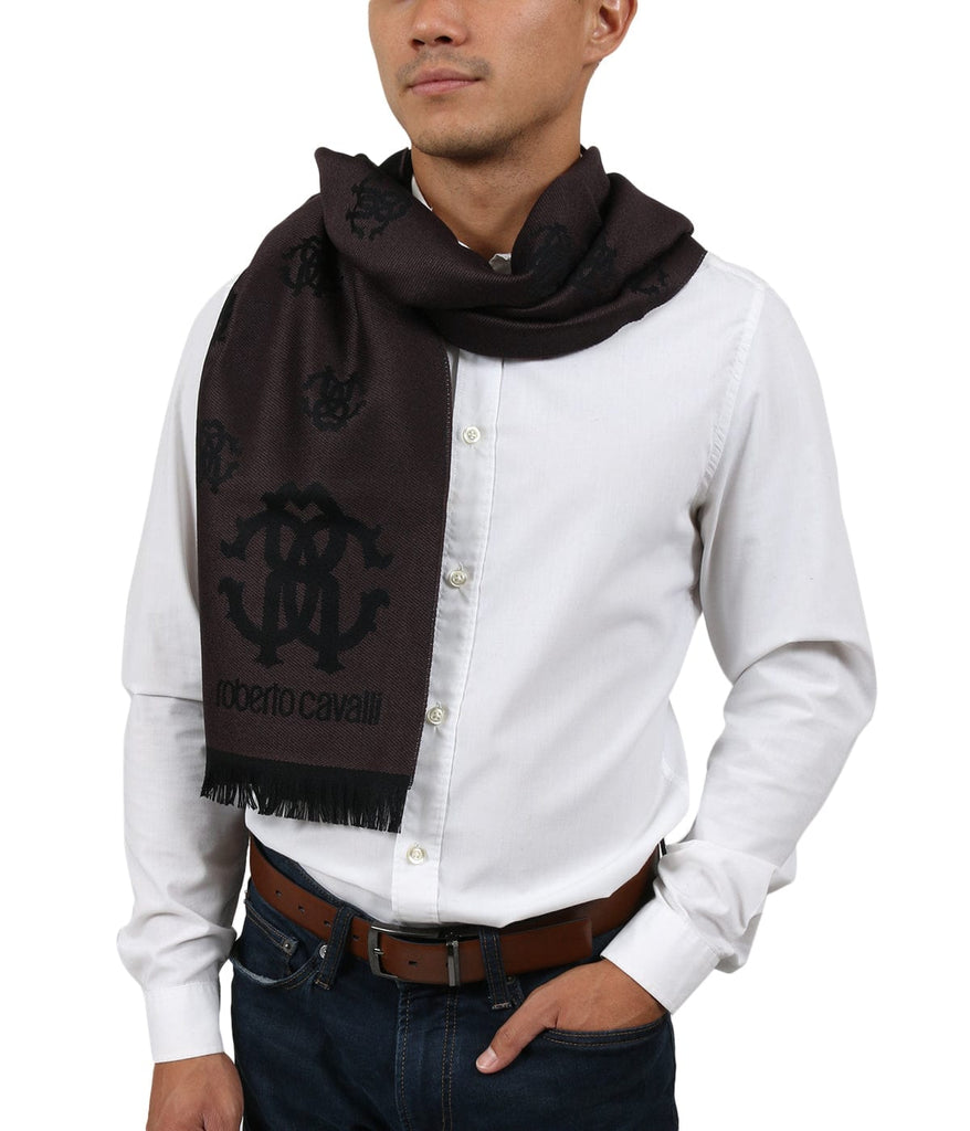 Roberto Cavalli ESZ051 03503 Brown Wool Blend Logo Mens Scarf at 38.09