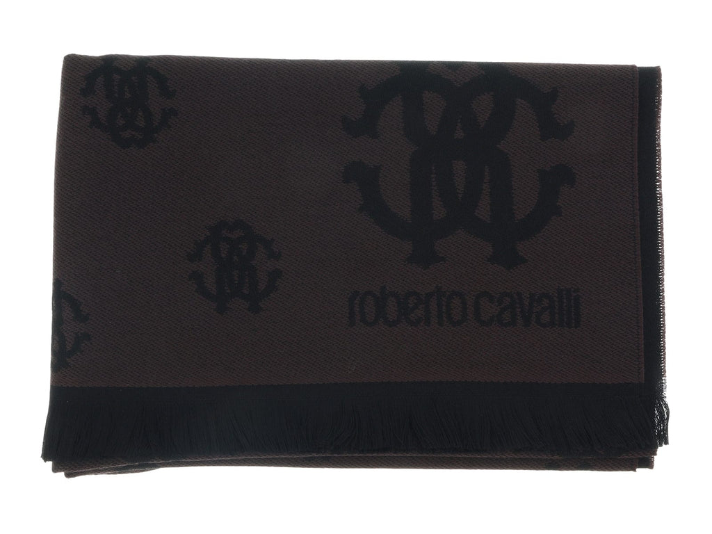 Roberto Cavalli ESZ051 03503 Brown Wool Blend Logo Mens Scarf at