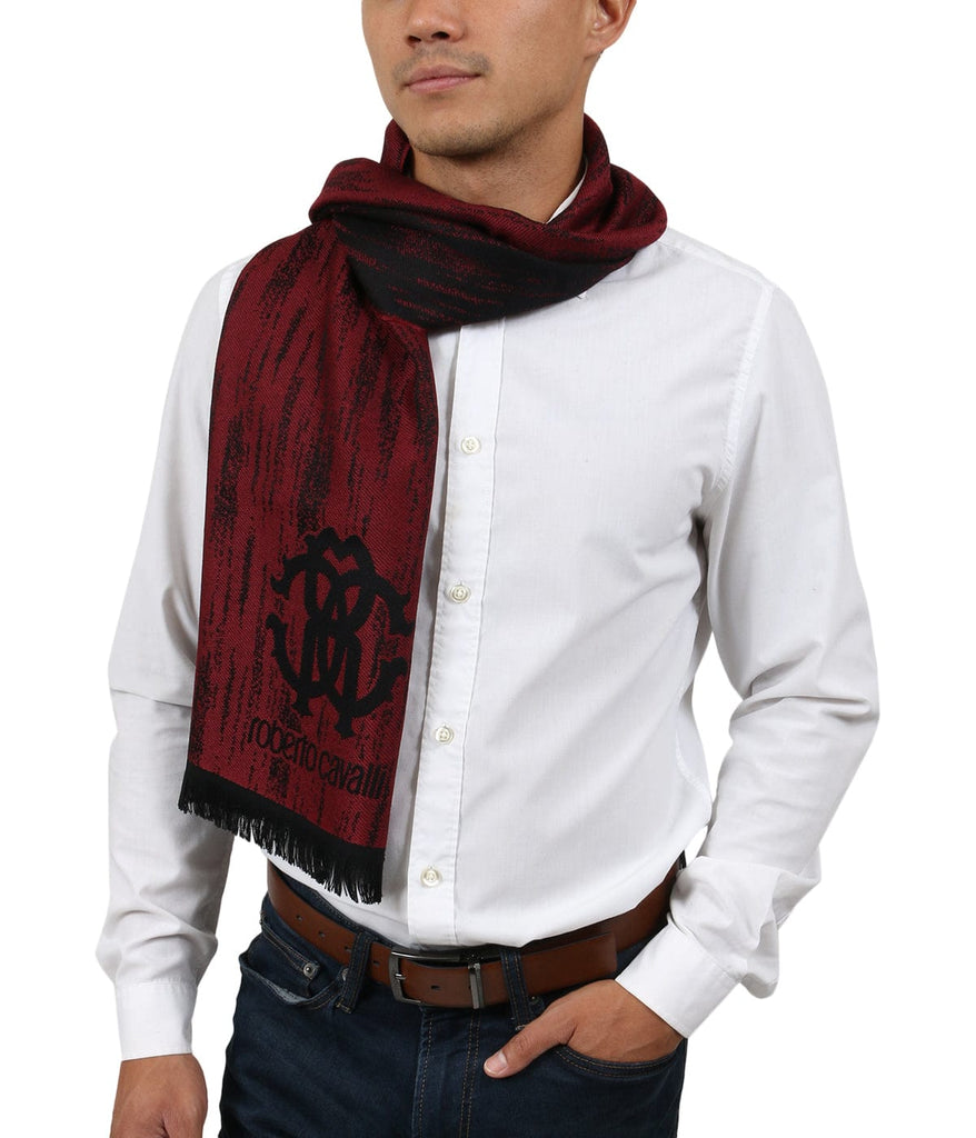 Roberto Cavalli ESZ052 02000 Red Wool Blend Grunge Mens Scarf at 38.09