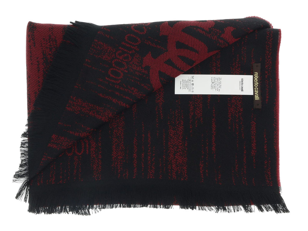 Roberto Cavalli ESZ052 02000 Red Wool Blend Grunge Mens Scarf at