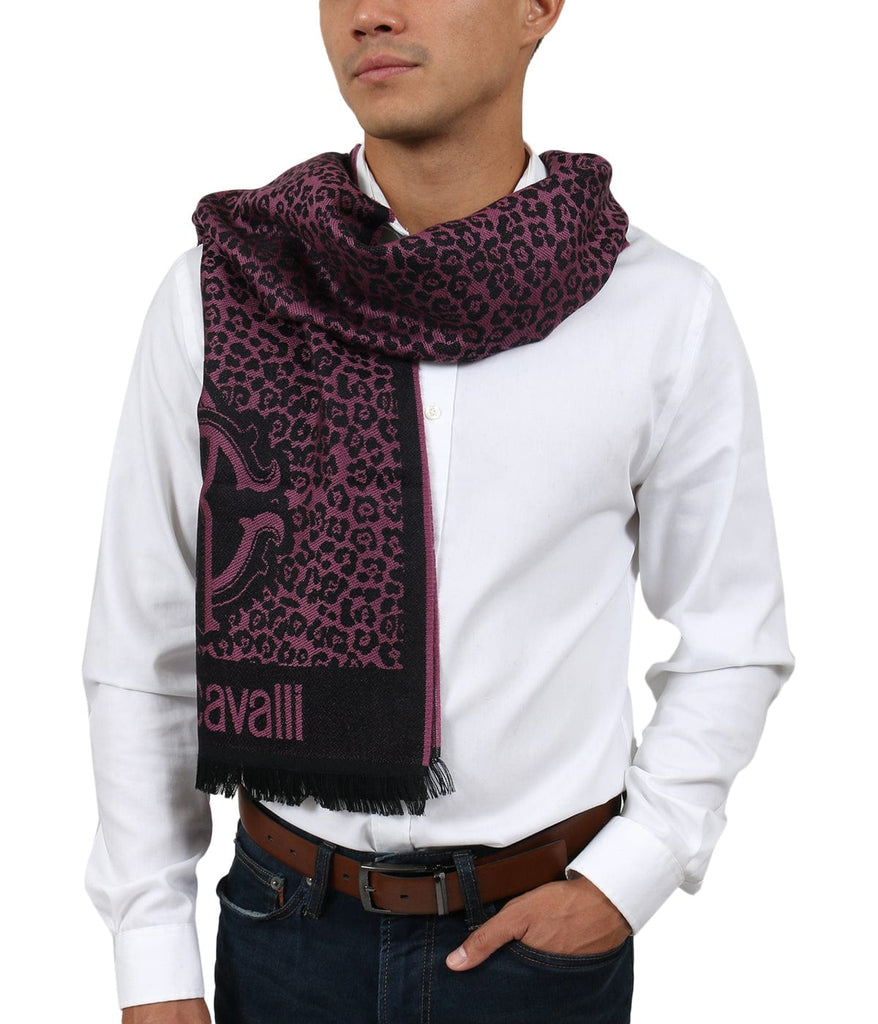 Roberto Cavalli ESZ056 03000 Purple Wool Blend Leopard Print Mens Scarf at 38.09