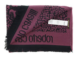 Roberto Cavalli ESZ056 03000 Purple Wool Blend Leopard Print Mens Scarf at