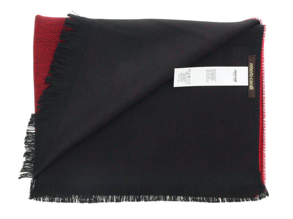 Roberto Cavalli ESZ061 02000 Red Wool Blend Signature Mens Scarf at
