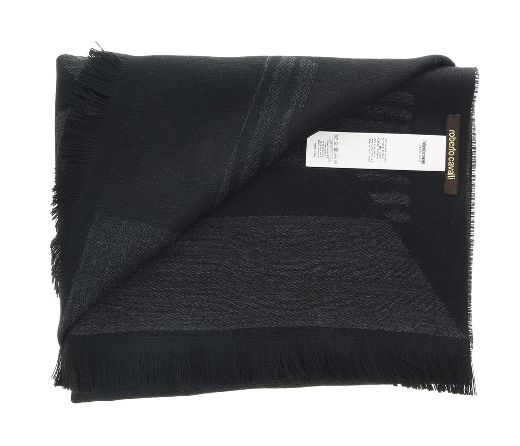 Roberto Cavalli ESZ063 05001 Grey Wool Blend Signature Mens Scarf at