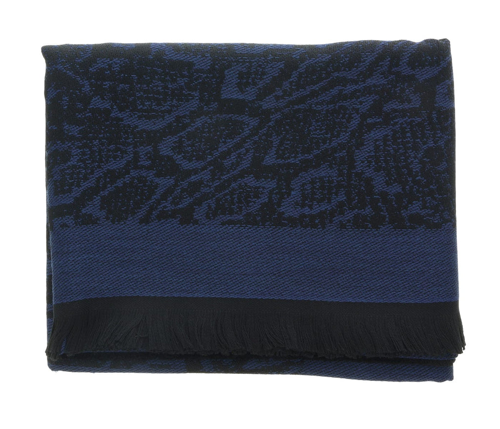 Roberto Cavalli ESZ066 04505 Navy Wool Blend Signature Mens Scarf at
