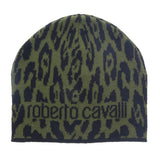 Roberto Cavalli  ESZ026 D0491 Black/Military Green Jaguar Beanie Hat at 28.56