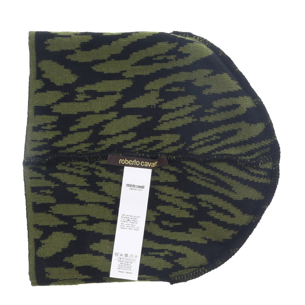 Roberto Cavalli  ESZ026 D0491 Black/Military Green Jaguar Beanie Hat at