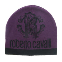 Roberto Cavalli Burgundy/Black Leopard Print with Signature Wool Blend Hat and Scarf Set-One Size