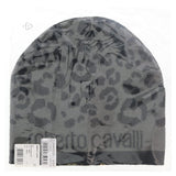Roberto Cavalli  ESZ031 05001 Black/Grey Leopard Beanie Hat at