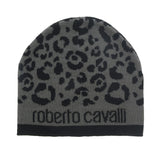 Roberto Cavalli  ESZ031 05001 Black/Grey Leopard Beanie Hat at 28.56