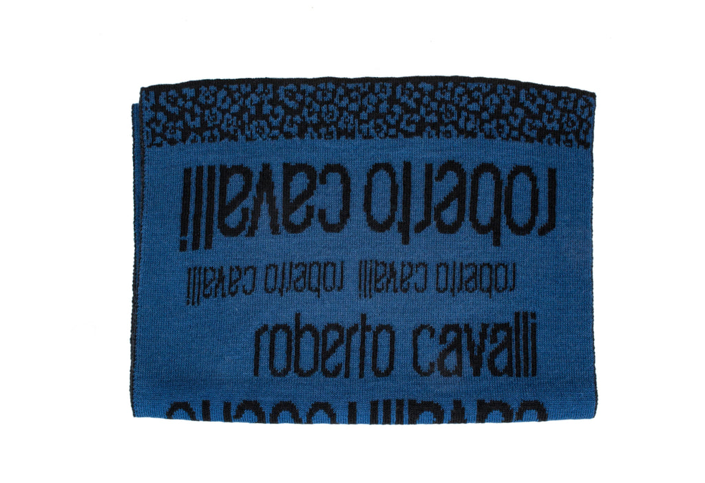 Roberto Cavalli ESZ064 LU053  Blue/ Black Wool Blend Mens Scarf at