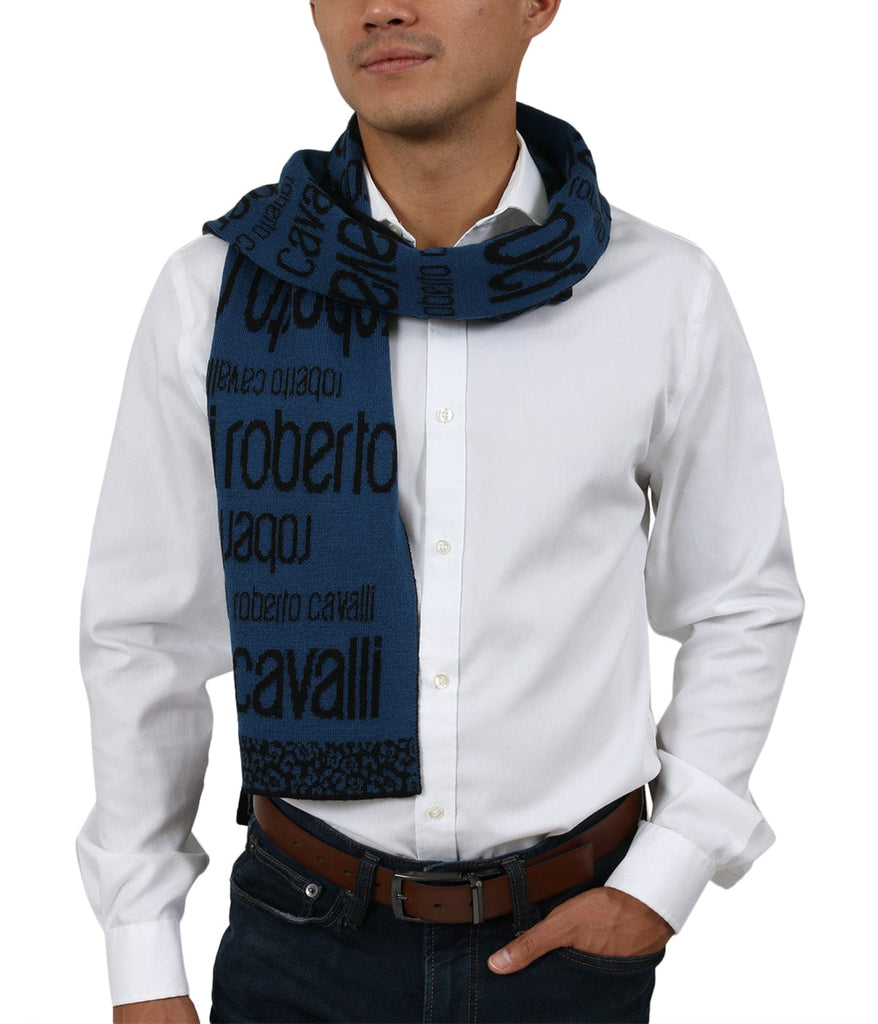 Roberto Cavalli ESZ064 LU053  Blue/ Black Wool Blend Mens Scarf at 38.09