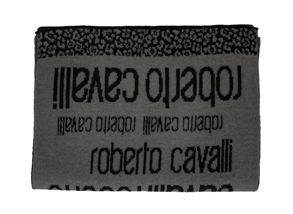 Roberto Cavalli ESZ064 LU053 Grey/ Black Wool Blend Mens Scarf at