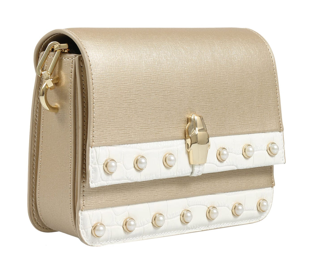 Roberto Cavalli HXLPAY F92 Gold/White Shoulder Bag at 286.66