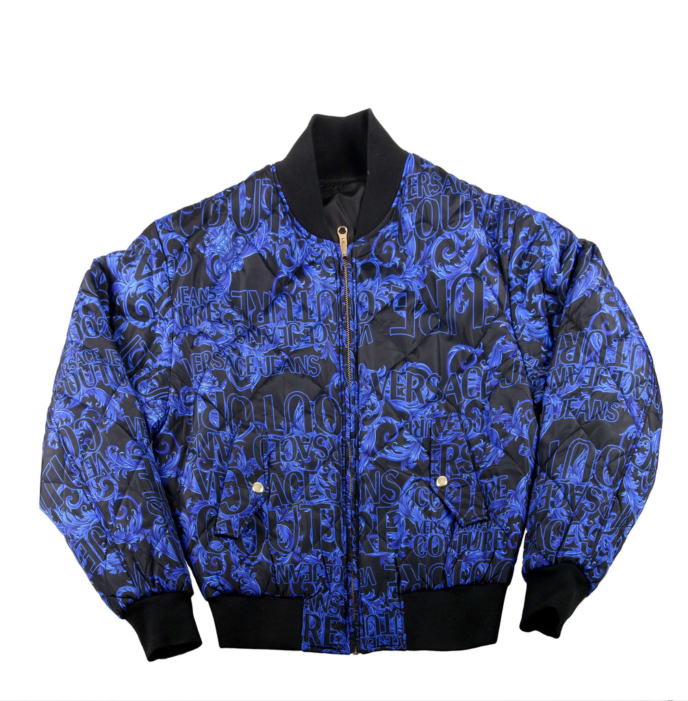 Versace Jeans Couture Baroque Print Full Zip Blue/Black Bomber Winter Reversible Jacket